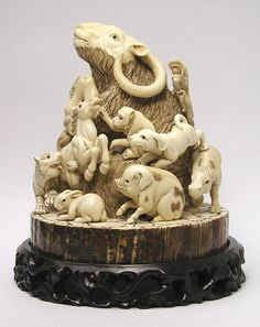 International Arts and Crafts -- Mammoth Carvings mammoth and hippo ivory carvings, netsuke, jewelry