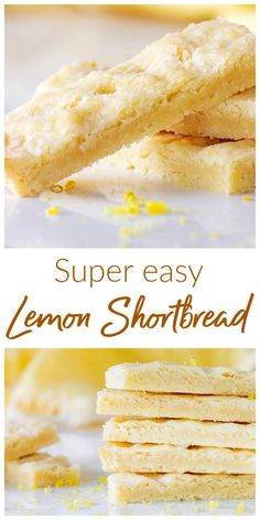This Lemon Shortbread is a glorious mix of butter, flour, sugar and lemon zest. It has a nice zing cutting through the buttery amazingness! They can be refrigerated for a day before baking and keep very well. A perfect holiday cookie! Lemon Dessert Recipes, Lemon Recipes, Easy Desserts, Baking Recipes, Sweet Recipes, Cookie Recipes, Pumpkin Recipes, Yummy Recipes, Limoncello