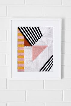Diy Graphic Embroidered Art - Use a plastic mesh canvas to create a decorative embroidery piece. Diy Canvas Art, Diy Wall Art, Wall Decor, Diy Embroidery, Cross Stitch Embroidery, Geometric Embroidery, Do It Yourself Inspiration, Design Inspiration, Diy Art Projects