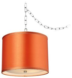 """Contemporary Dyer Steel 12"""" Wide Orange Drum Shade Swag Chandelier contemporary lamp shades - Lamps Plus"""