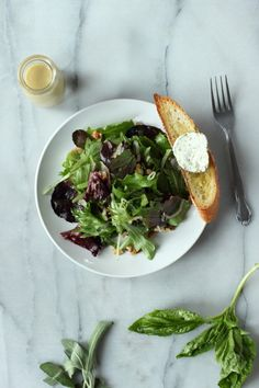 Fresh Garden Green Salad with Goat Cheese and Hazelnuts | Foodness Gracious