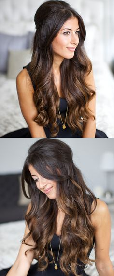 Hair inspiration: curly hair bouffant with long bangs