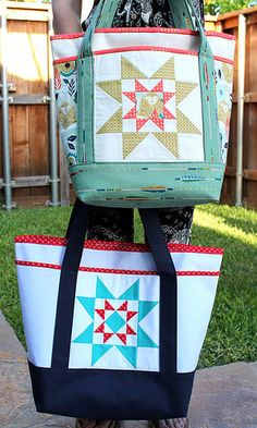 Cute tote bag - external & internal pockets, canvas with bound edges.