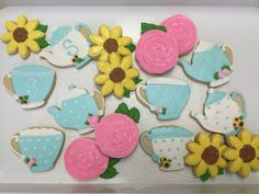 Flowers, Tea Pots, Tea Cup Decorated Sugar Cookies by I Am the Cookie Lady