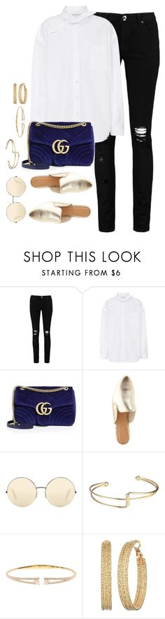 """""""Untitled #3833"""" by theaverageauburn ❤ liked on Polyvore featuring Boohoo, Balenciaga, Gucci, Bamboo, Victoria Beckham, Nadri and GUESS"""