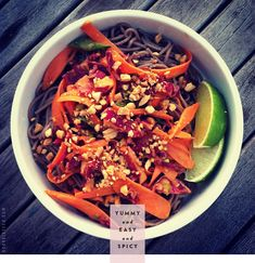 Food: Eleven Ace Meat Free Recipes (via Soba noodles and veggies with spicy peanut sauce. Veggie Recipes, Asian Recipes, Whole Food Recipes, Vegetarian Recipes, Healthy Recipes, Ethnic Recipes, Peanut Recipes, Vegetarian Cooking, Free Recipes