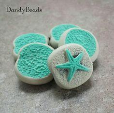 Sea Green Beach Beads.  Handmade polymer clay by Sandra Niese