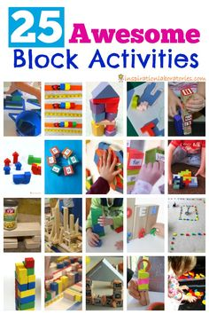 Check out this collection of 25 activities using blocks. Build with blocks, sort them, count them, use them in a variety of hands-on activities.