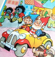 Noddy and Mr. Plod and Noddy's car (parp parp!).