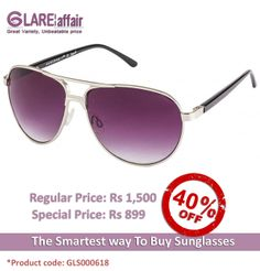 Farenheit FA-960 Silver Blue Gradient Aviator Sunglasses http://www.glareaffair.com/sunglasses/farenheit-fa-960-silver-blue-gradient-aviator-sunglasses.html  Brand : Farenheit  Regular Price: Rs1,500 Special Price: Rs899  Discount : Rs601 (40%)