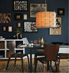 navy walls & light fixture maybe something like this for the dining room