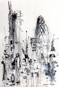 London Sketch on south side of the Thames looking towards the Gherkin. October 2012. www.jamesabellart.com