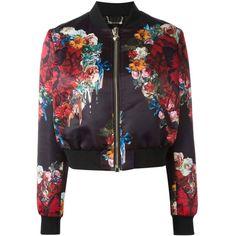 Philipp Plein Damen floral print bomber jacket - reduziert (2 065 AUD) ❤ liked on Polyvore featuring outerwear, jackets, philipp plein jacket, blouson jacket, philipp plein, flower print jacket and flight jacket