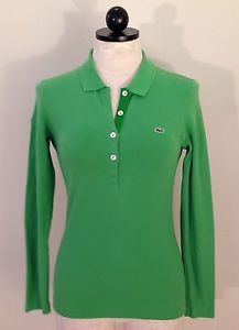 Lacoste Women's Long Sleeve Polo Top Shirt Green Size 38 US Size 6 | eBay