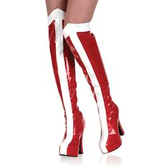 Electra-2090, Red and White Wonder Woman or Racer Girl Halloween Costume GoGo Boots