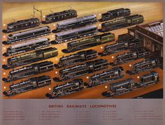 British Railways Locomotives. This poster, originally published in London, shows 21 different British Railways locomotives. Illustrated by A. N. Wolstenholme, circa 1948. Vintage trains.