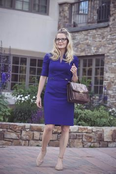 Business casual outfit idea, blue dress, fashion over 40