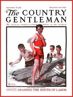 1917 September 8, - COVER -  The Country Gentleman  - 'Cousin Reginald Goes in Swimming' -  by Norman Rockwell