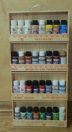 Make a Yardstick Craft Paint Caddy.  Tutorial by Thuy Means.