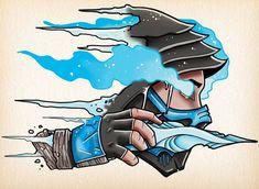 Sub-Zero Mortal Kombat Tattoo Design Mortal Kombat Tattoo, Mortal Kombat Art, Sub Zero Mortal Kombat, Scorpion Mortal Kombat, Game Character, Character Design, Desenhos Old School, Mortal Kombat X Wallpapers, Gamer Tattoos