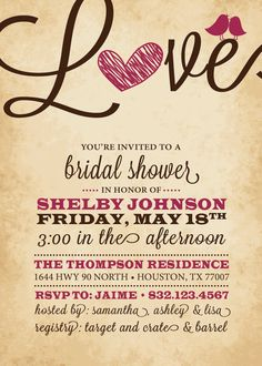 Bridal Shower Invitation Love Birds Heart by InvitingDesignStudio