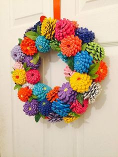 "Summer Pinecone Zinnia Wreath in Patriotic Theme ""Zinnias Pinecone Wreath Zinnia Door Hanger by SouthernEscentuals"", ""Zinnias Pinecone Wreath Zinnia Doo Kids Crafts, Easter Crafts, Diy And Crafts, Arts And Crafts, Kids Diy, Decor Crafts, Spring Crafts, Holiday Crafts, Christmas Crafts"