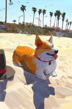 The Art Of Animation, Atey Majeed Ghailan -. Cute Animal Drawings, Cute Drawings, Pretty Art, Cute Art, O Pokemon, Pics Art, Animal Paintings, Aesthetic Art, Art Inspo
