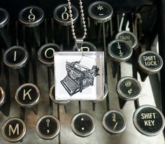 Antique Typewriter pendant necklace  block print by NydamPrints