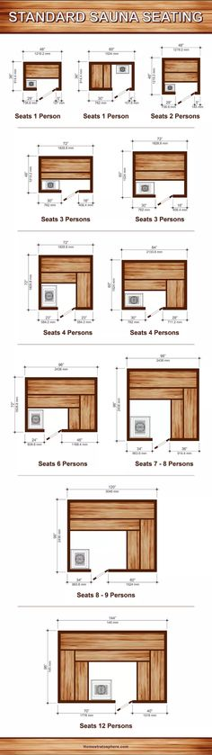 11 Sauna Dimensions, Sizes and Layouts (Illustrated Diagram) - Diagram setting out 11 different sauna dimensions (layouts) and sizes for different number of peopl - Diy Sauna, Sauna Steam Room, Sauna Room, Homemade Sauna, Sauna Hammam, Building A Sauna, Sauna Shower, Home Spa Room, Indoor Sauna