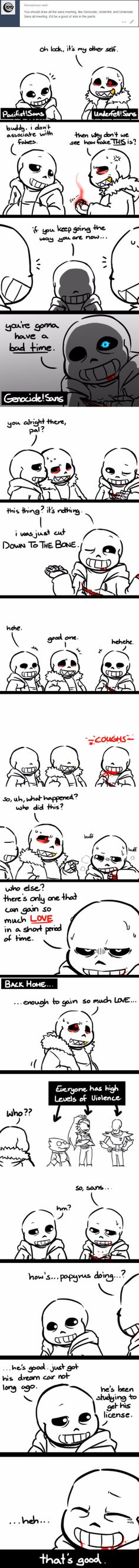 Sans - Pacifist, Underfell, and Genocide AU - comic
