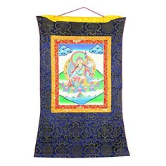 ShalinIndia Thangka Hanging Silk Canvas Buddhist Scroll Tapestry Art - 30 inches by 23 inches - Faux Silk and Cotton - Inspired by Traditional Tibetan Art - Artisan Made Buddha Decor, Tibetan Art, Artisan, Tapestry, Throw Pillows, Traditional, Quilts, Blanket, Silk