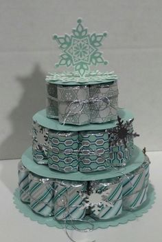 Winter Themed Wrapped Candy Nugget Cake by muscrat Christmas Craft Fair, Christmas Gift Bags, Stampin Up Christmas, Christmas Goodies, Christmas Candy, Holiday Crafts, Christmas Projects, Handmade Christmas, Holiday Ideas