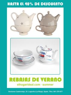 Decoracion online, el hogar ideal, rebajas 25, tea for one taupe y crema, tetera marinera. elhogarideal.com