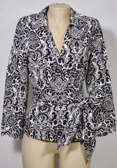 ANN TAYLOR Black/Ivory Patterned Wrap Shirt Top 14 Long Sleeves Stretch Cotton #AnnTaylor #Wrap #Casual