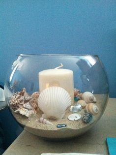 "Beachy centerpiece that I made for my wedding. Each table will have this as a centerpiece. Made with an 8"" bubble bowl, sand, shells, blue and clear beads, and a candle"