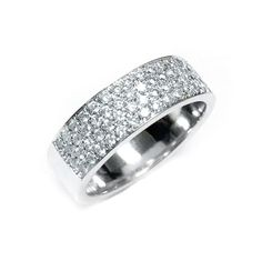 Thisis a4 rows paves on a flat band ring, set with diamonds. The ring is set with 74 diamonds, round brilliant cut, white color in ranges of F-G, clarity is eye clean in ranges of VS-SI, total carat weight is 0.75 carat.(This ring is available with any kind of diamonds & gemstones, pleasecontact usfor more Information)What's my ring size?>>