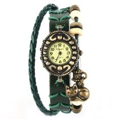 Graduation Gift:Yesurpriseweave Quartz Fashion Weave Cat Wrap Around Leather Bracelet Lady Woman Wrist Watch For Graduation Party Gift Trendy Green