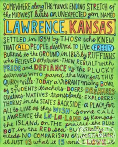 """""""Lawrence, Kansas"""" by Artsyville. An ode I wrote to my favorite little town in the world. Illustration and text © Aimee Myers Dolich. artsyville.etsy.com."""