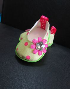 "American Girl Doll Clothes Shoes 'Green Lady Bug' Shoes New 18"" Doll Shoe Line HauteDesignsByNorine"