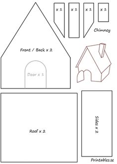 Template for gingerbread house 3 | Free printable for Christmas