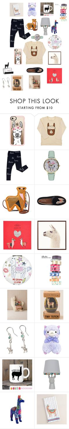 """""""Gotta Love Llamas"""" by conceitedmoon ❤ liked on Polyvore featuring Casetify, Geneva, FOSSIL, Soludos, Pottery Barn, Accessorize, Urban Outfitters, NOVICA and Cost Plus World Market"""