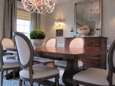 Heidi Johnston: french dining room  Trestle dining table, Louis Chairs, gray silk drapes and vintage ...