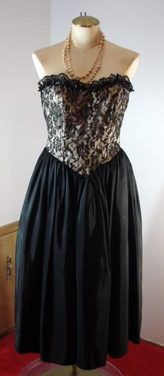 Vintage 80s Black Lace Gunne Sax Cocktail Party Dress Strapless XS 31 Bust PUNK #GunneSax