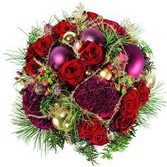 Einen lieben Menschen mit einem prächtigen, weihnachtlichen Blumenstrauß überraschen und gleichzeitig noch weiteren Menschen etwas Gutes tun? Das ist ab sofort möglich! Dieses edel anmutende Rot/Bordeaux-farbene Bouquet ist rund und kompakt mit Rosen und Celosien Hypericum zusammen mit weihnachtlichen Kugeln, Golddraht und ein wenig Tannengrün gebunden und versetzt seinen Empfänger garantiert in freudige Weihnachtsstimmung. Zudem wird dieser weihnachtliche Blumenstrauß nur wenige Stunden…