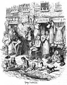 George Cruikshank, Monmouth  Street, in: Sketches by Boz (= Charles Dickens) , London 1836