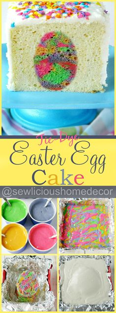 Tie Dye Easter Egg Cake. Easy to make and fun for the kids!  sewlicioushomedecor.com