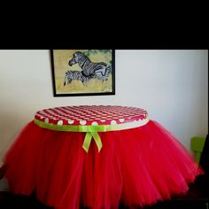 Strawberry shortcake themed tutu table