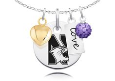 Northwestern Wildcats Necklace With Heart, Color and Love