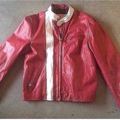 """GAP Red Inspi(RED) Moto Jacket  Leather.  Large. Pit to pit is 23"""". Inside sleeve is 20"""" Amazing condition. $200  contact @matthewhodgman"""