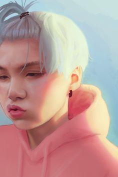When Yoongi's long fringe keeps obscuring his sight while composing, so he tie… – Bts Min Yoongi Bts, Bts Suga, Bts Bangtan Boy, Fanart Bts, Yoonmin Fanart, Arte Fashion, Fandom, Bts Drawings, Bts Chibi